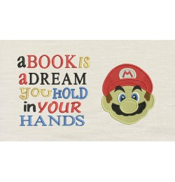 Mario Embroidery v2 with a book is a dream