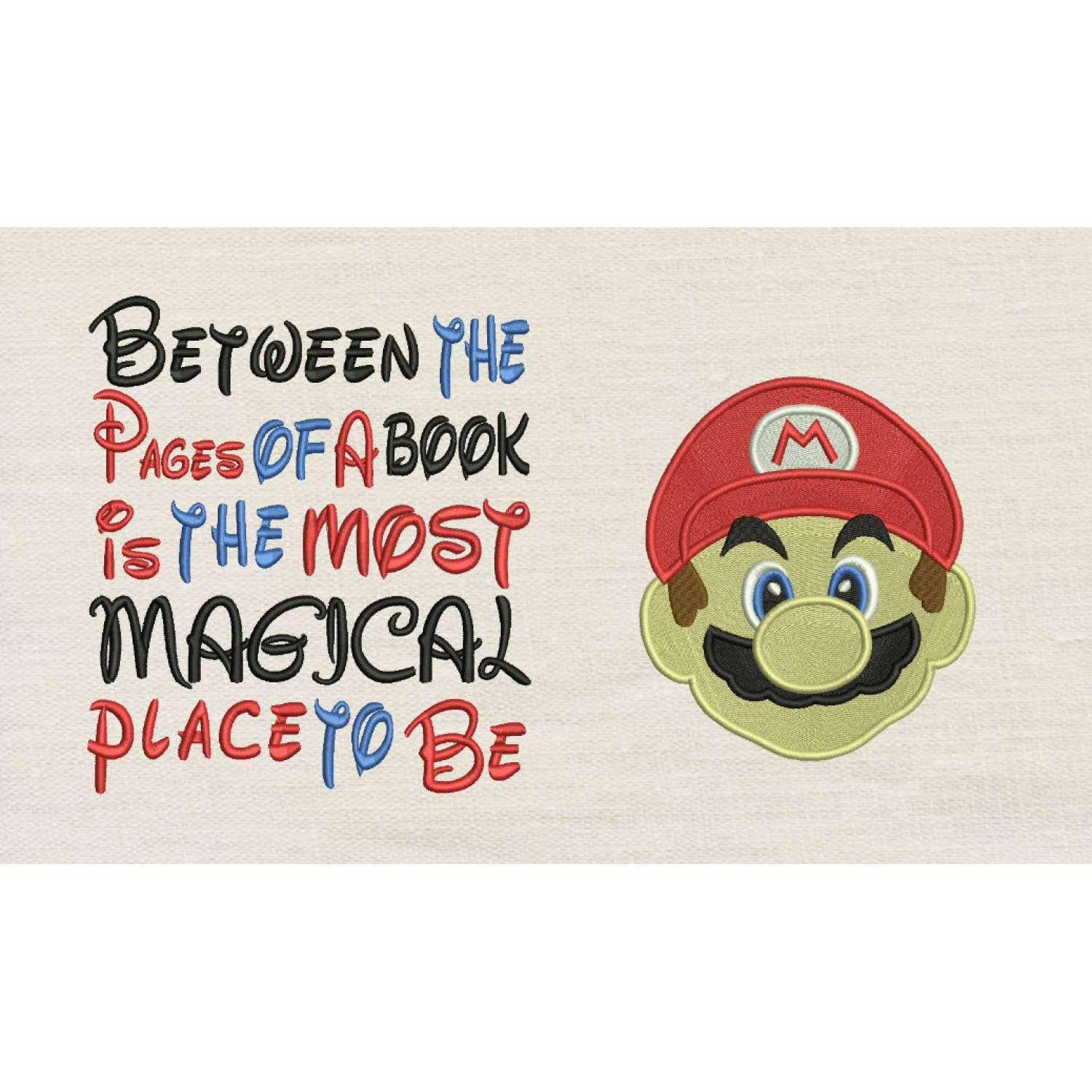 Mario Embroidery v2 with Between the Pages