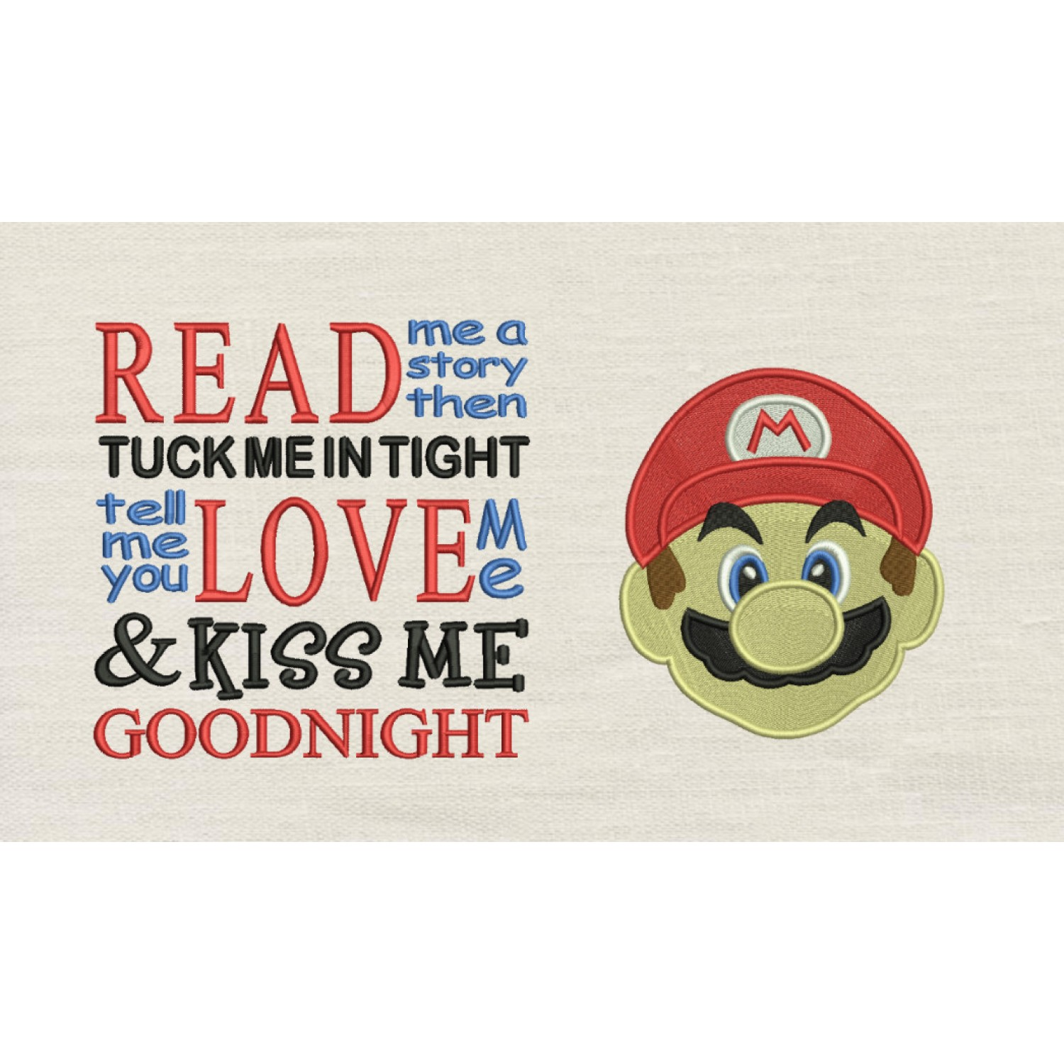 Mario Embroidery v2 with read me a story