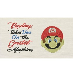 Mario Embroidery v2 with reading takes you