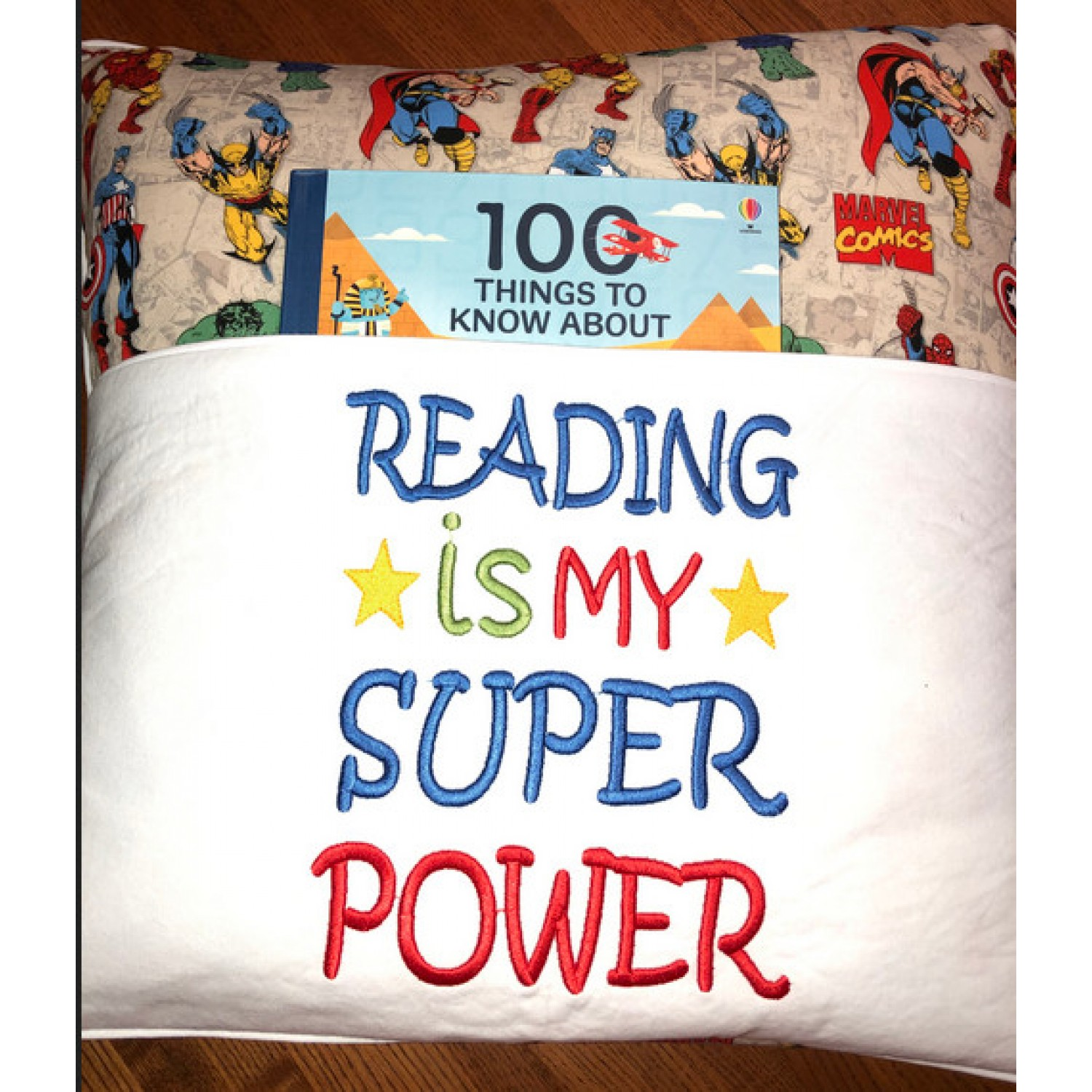 Reading is My Super power embroidery