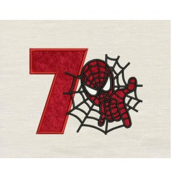 Spiderman with number 7 embroidery