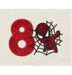 Spiderman with number 8 embroidery
