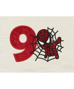 Spiderman with number 9 embroidery