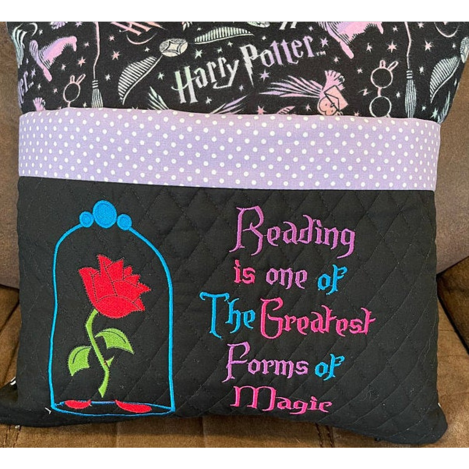 Belle Rose with reading is one embroidery