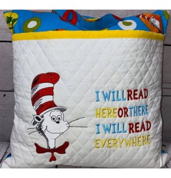 Cat in the hat with i will read Embroidery
