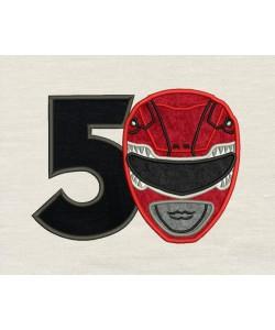 Power Ranger birthday number 5 Applique