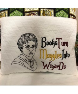 Harry Potter line with Books Turn embroidery