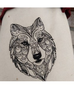 Wolf line embroidery