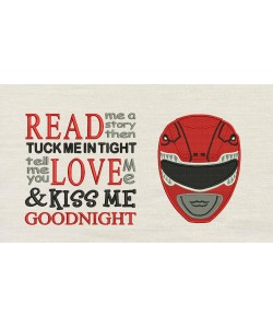Power Ranger Embroidery with read me a story
