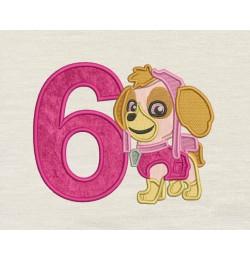 skye paw patrol birthday number 6 applique