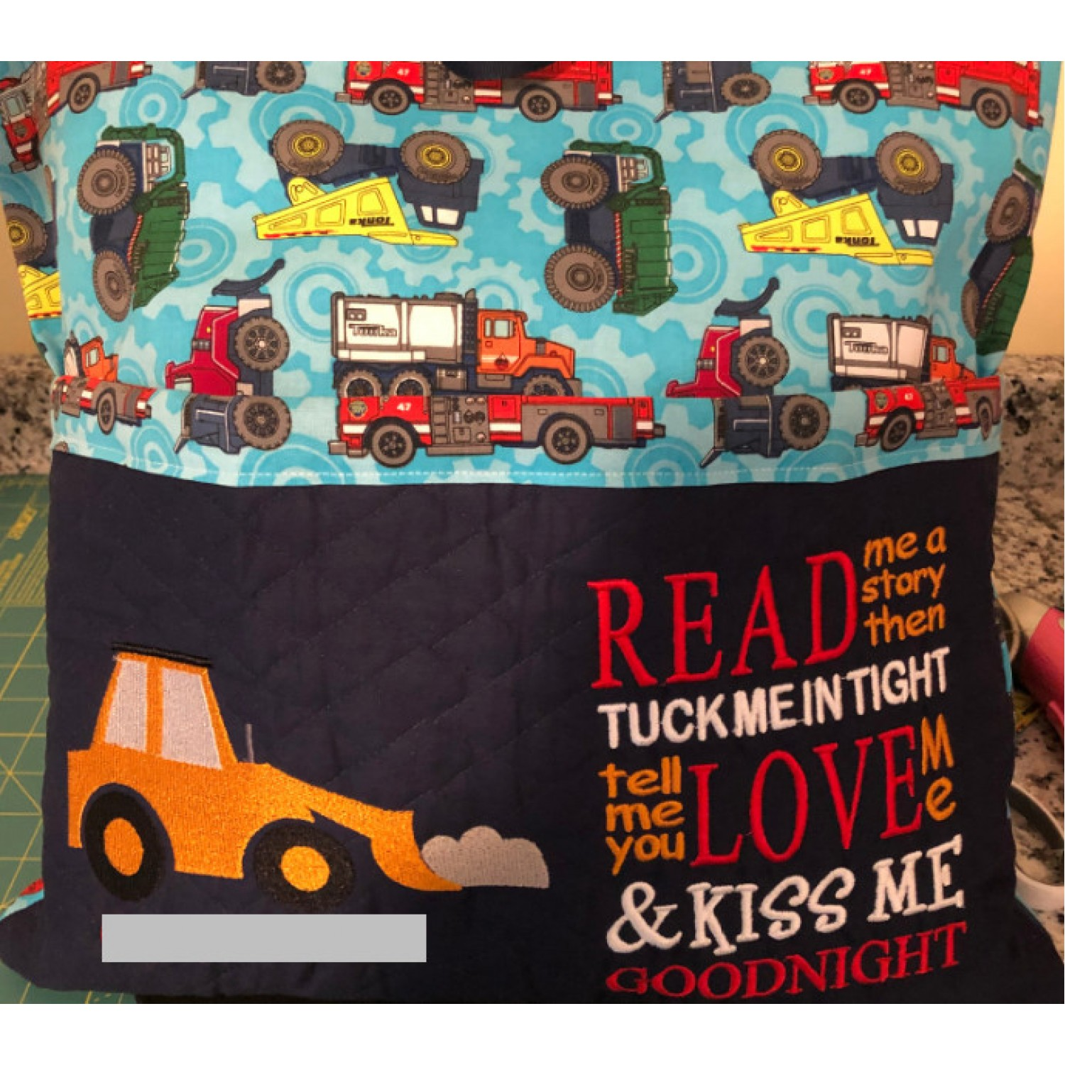 Digger embroidery with read me a story Design Embroidery