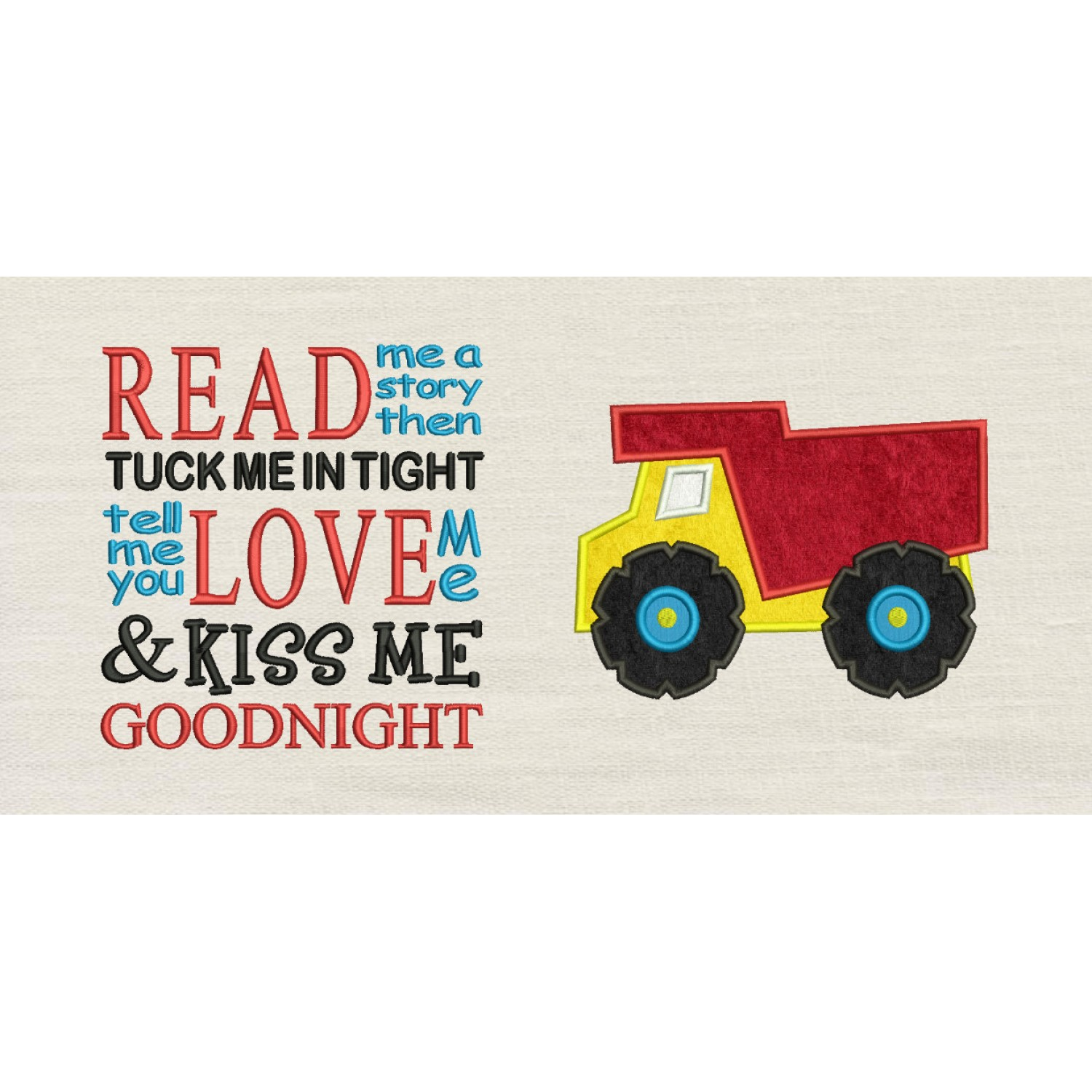 Dump truck with read me a story designs