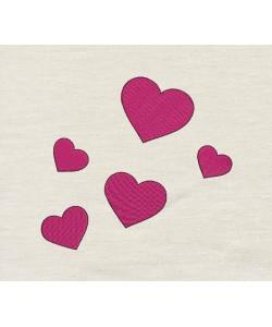 Five hearts embroidery design