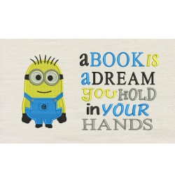 Bob minion embroidery with a book is a dream