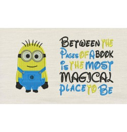 Bob minion embroidery with Between the Pages
