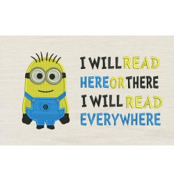 Bob minion embroidery with i will read
