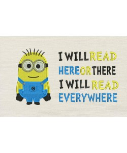 Bob minion embroidery with i will read