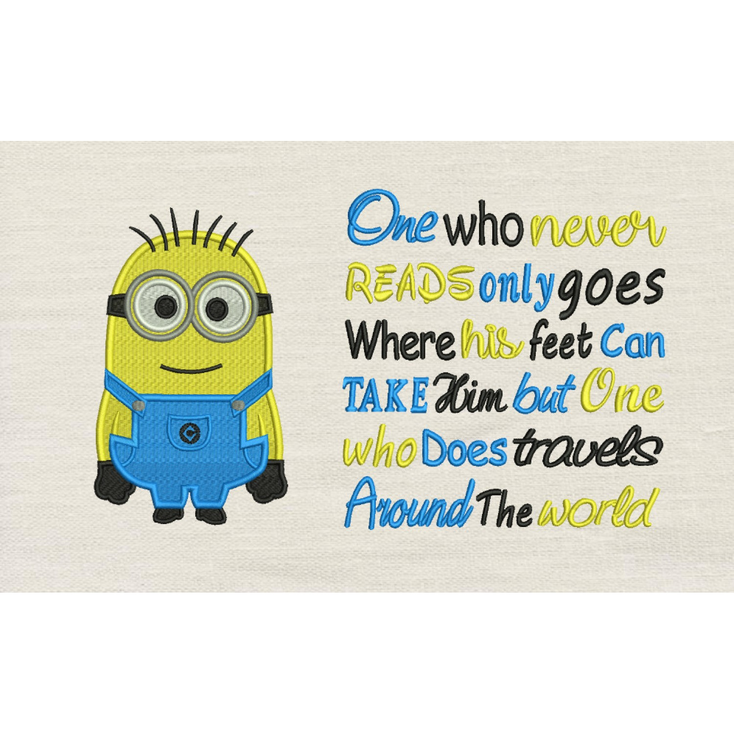 Bob minion embroidery with One who never reads