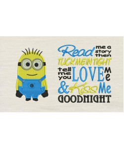 Bob minion embroidery with Read me