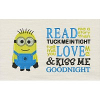 Bob minion embroidery with Read me a story