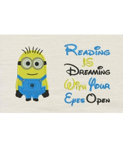 Bob minion embroidery with reading is dreaming