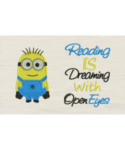 Bob minion embroidery with reading is dreaming Embroidery