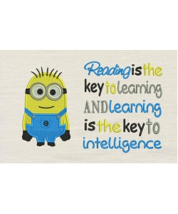 Bob minion embroidery with Reading is the key