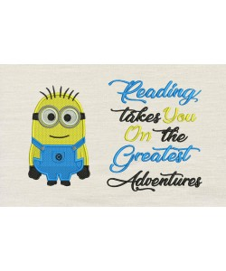 Bob minion embroidery with reading takes you