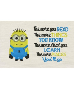 Bob minion embroidery with The more you