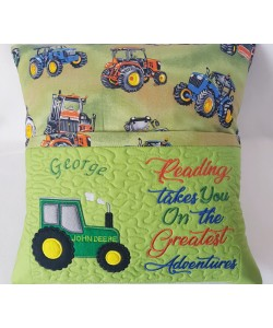 Tractor applique with reading takes you