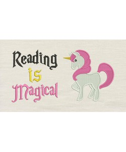 Unicorn embroidery with Reading is Magical