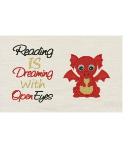 Baby Dragon Embroidery with reading is dreaming