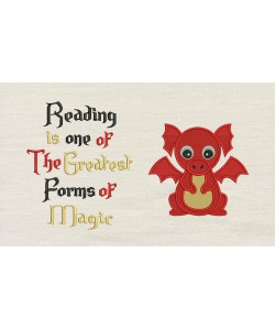 Baby Dragon Embroidery with Reading is one