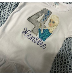 Elsa Frozen with number 4 Designs Machine Embroidery