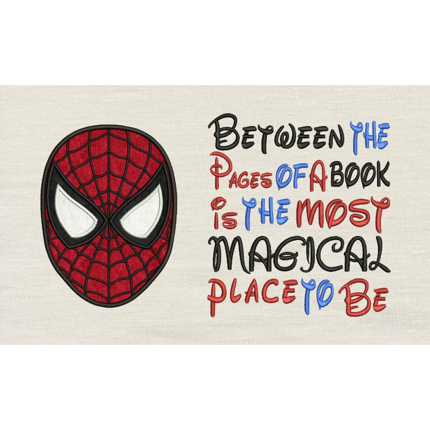 Spiderman face with Between the Pages Embroidery