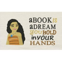 Moana emboidery with a book is a dream