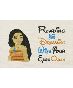 Moana emboidery with reading is dreaming