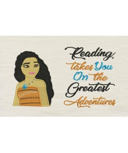 Moana emboidery with reading takes you