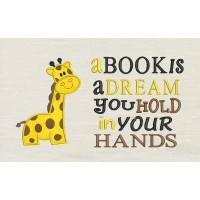 Giraffe with a book is a dream