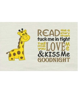 Giraffe with Read me Embroidery