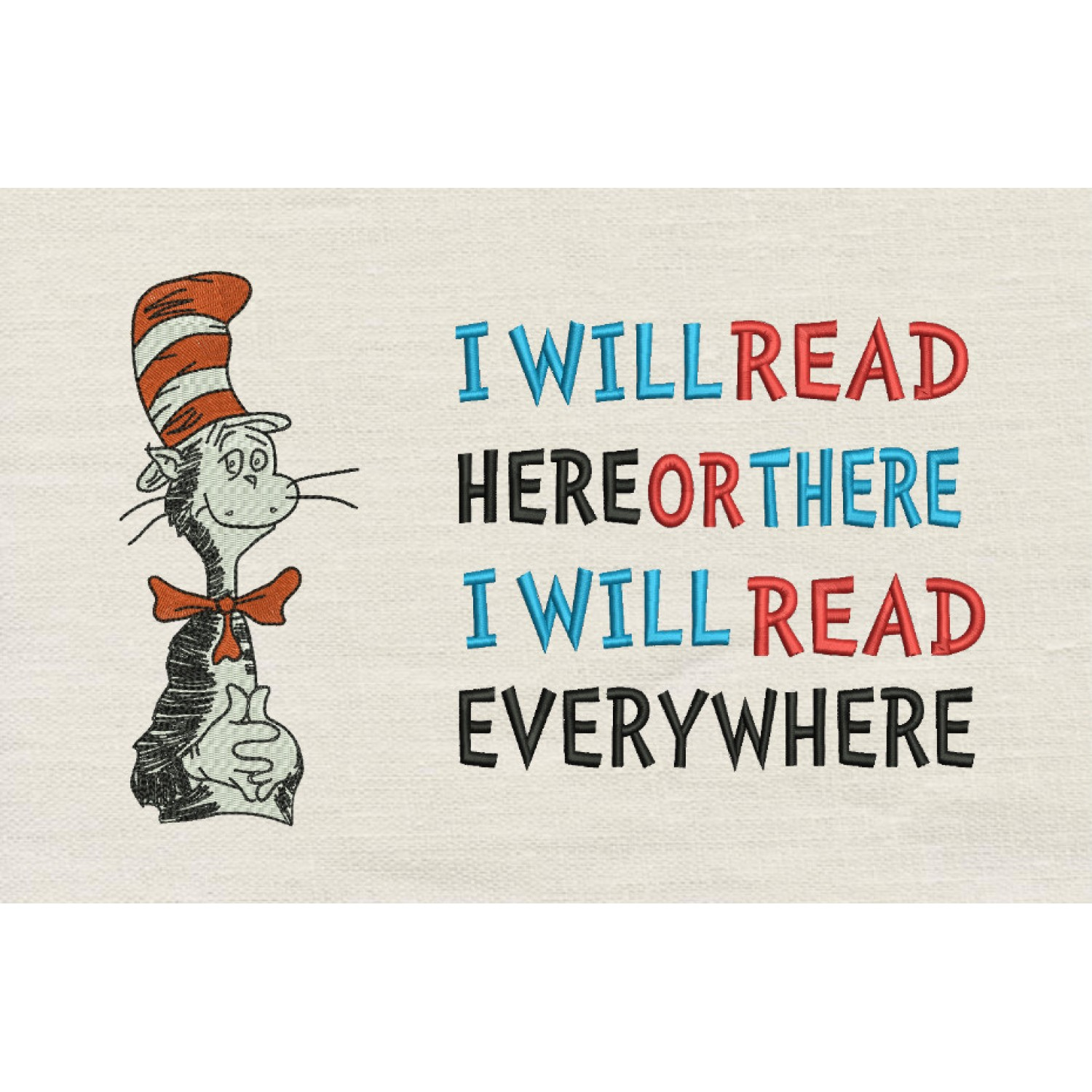 Dr. Seuss stitches with i will read