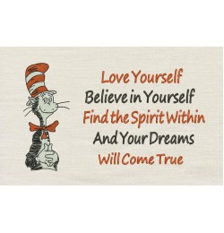 Dr. Seuss stitches with Love yourself