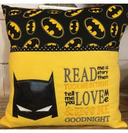 Batman face with read me a story Design Embroidery
