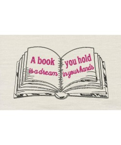 A book you hold embroidery