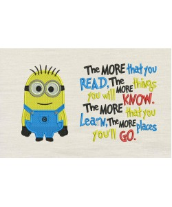 Bob minion embroidery with the more that you read