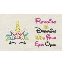 Unicorn empty with reading is dreaming