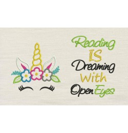 Unicorn empty with reading is dreaming Embroidery