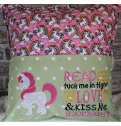 Unicorn embroidery with read me story