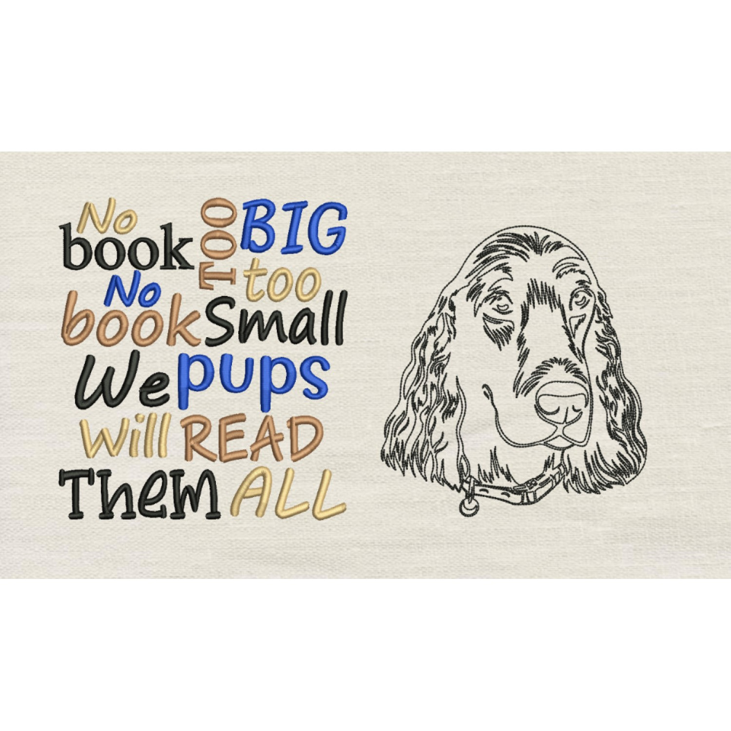 Dog line with no book designs embroidery